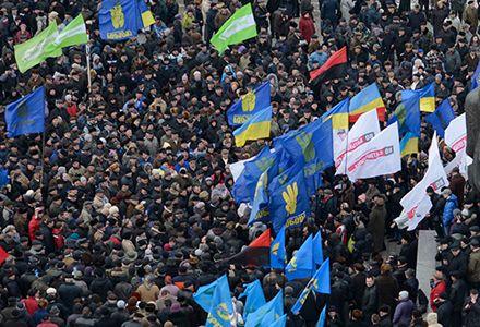 Колонна сторонников оппозиции отправилась с Крещатика к Софийской площади / Фото с сайта Батьківщини