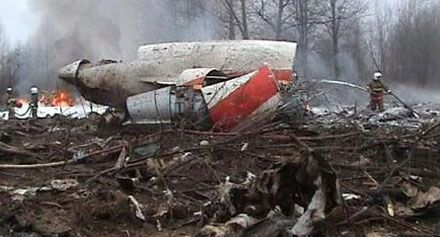 Обломки самолета Качиньского