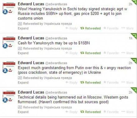 Скрин с Twitter Эдварда Лукаса