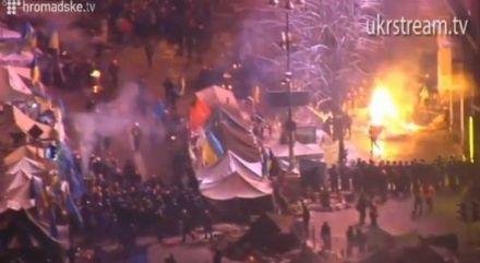 На Майдане горят палатки авктивистов