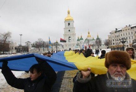 Участники праздничного шествия, посвященного Дню соборности Украины,