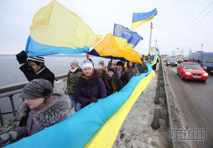 Участники празднования Дня Соборности Украины