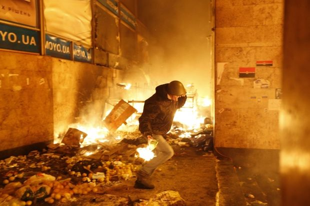 The Trade Unions House on fire in 2014 / REUTERS