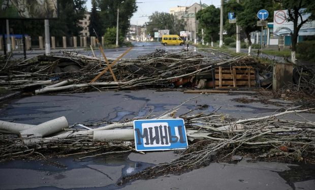 TV tower fell near Slaviansk/ REUTERS