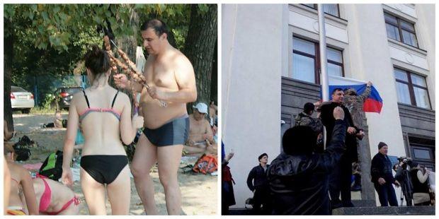 Депутат Клинчаев отдыхает в Киеве (слева) и участвует в митинге сепаратистов в Луганске (справа) / Eugeny Spirin