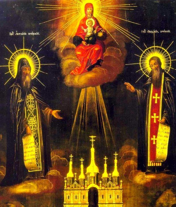 Ікона Матері Божої Печерська з предстоячими свв. Антонієм і Феодосієм Печерськими Печерська ікона XIX століття. Києво-Печерська лавра