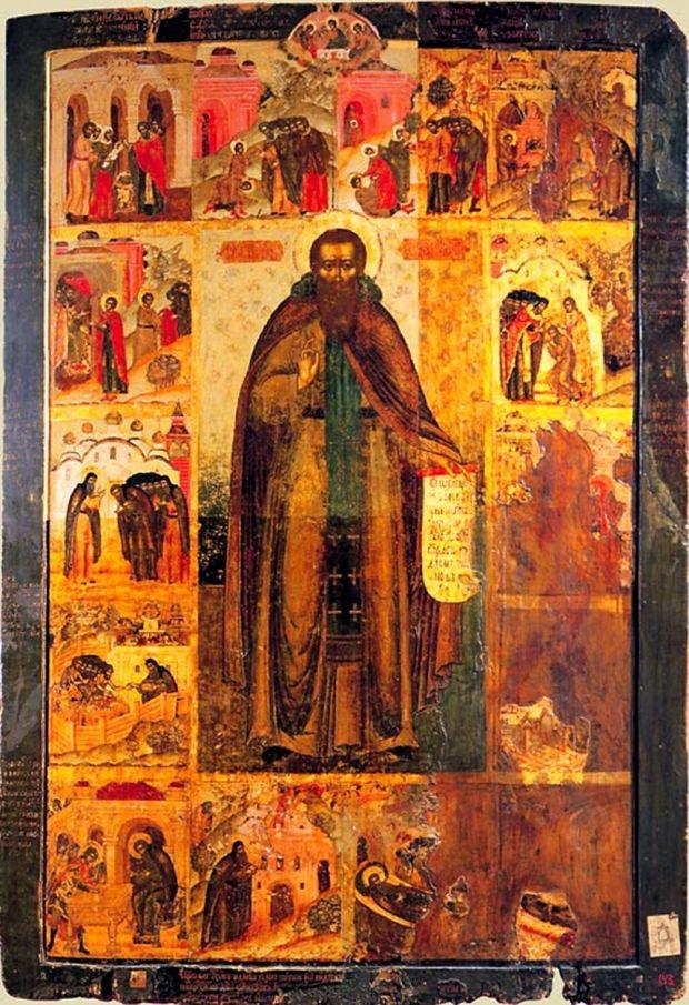 Ікона Феодосій Печерський з житієм