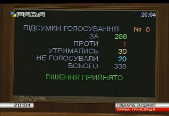 Screenshot from Rada television channel