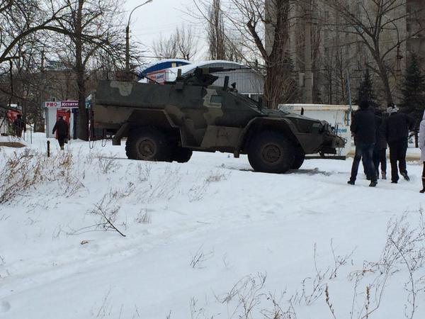 A Russian armored car photographed in Luhansk.