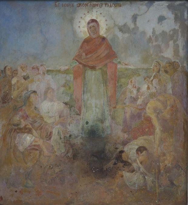 Старовинний Образ Пресв'тої Богородиці на внутрішній стіні зліва від центральної брами Києво печерської лаври