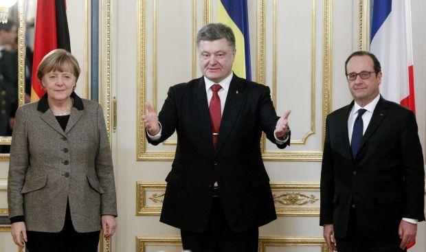 Ангшела Меркель, Петро Порошенко, Франсуа Олланд / REUTERS