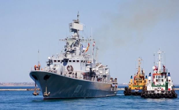 На фото - флагман ВМС Украины - фрегат
