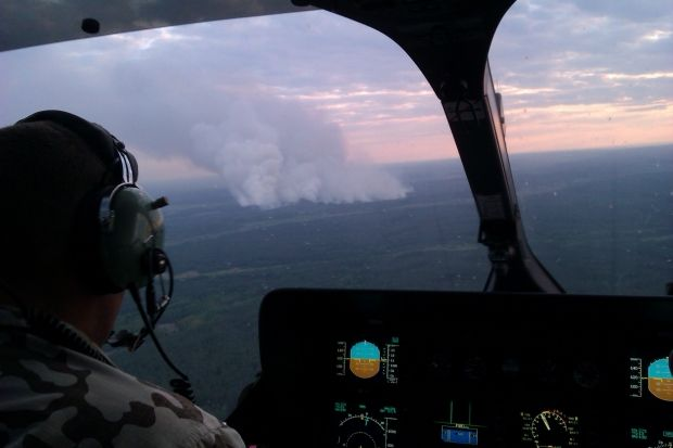 The fire in Chornobyl has spread on 130 hectares with separate fire areas / Photo from State Service for Emergency Situations