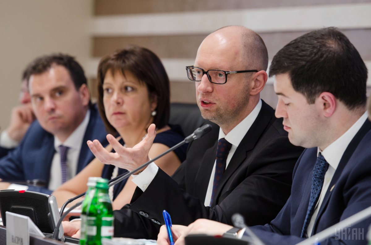 Aivaras Abromavicius, Natalie Jaresko, Arseniy Yatsenyuk and Roman Nasirov / Photo from UNIAN