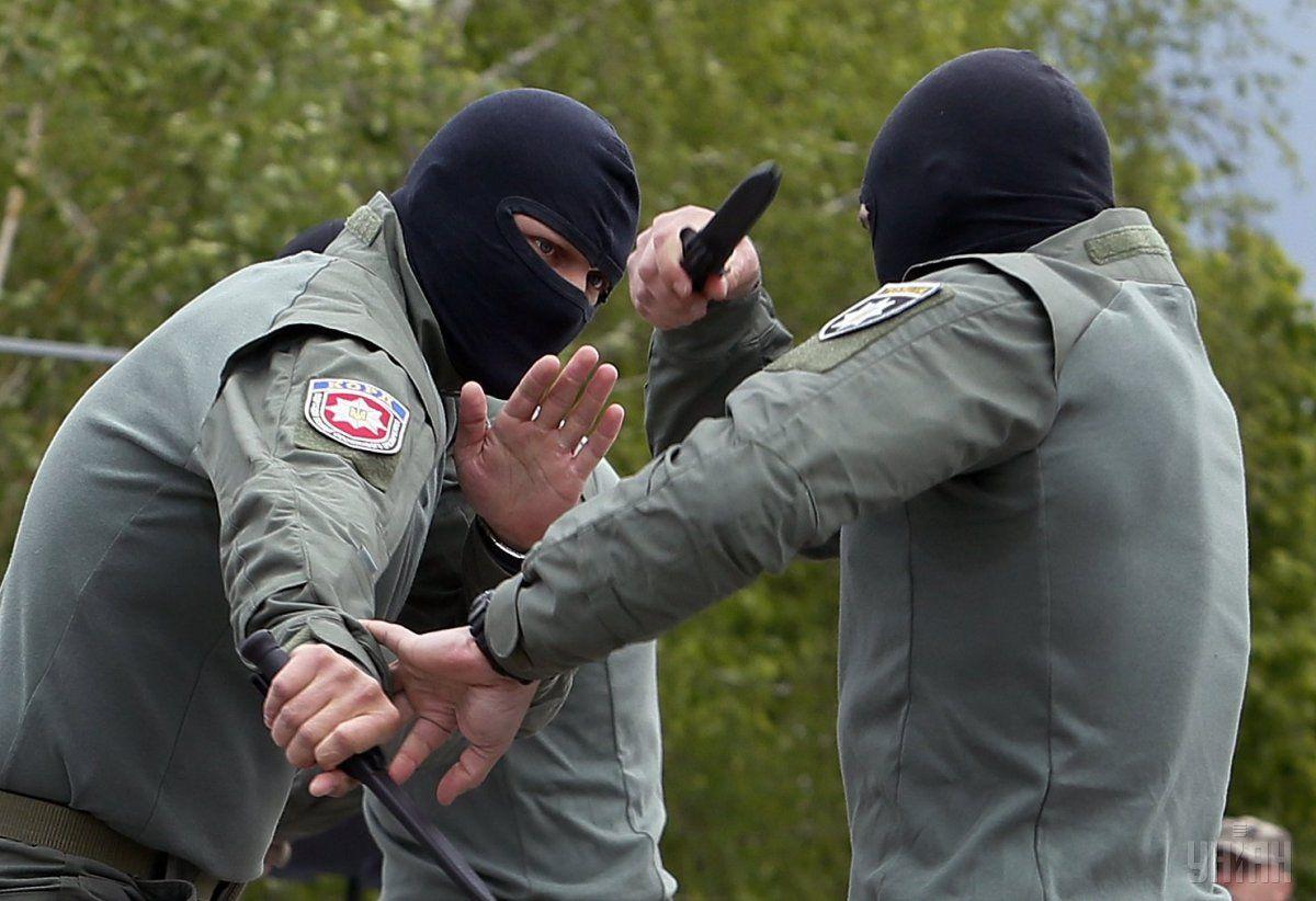 Показательные выступления бойцов КОРД во время церемонии / УНИАН