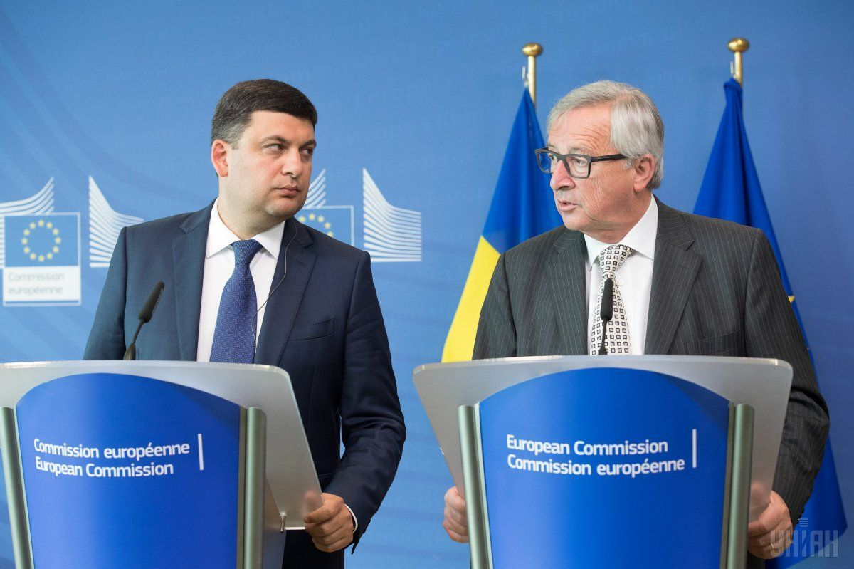 Ukrainian Prime Minister Volodymyr Groysman met with President of the European Commission Jean-Claude Juncker in Brussels on Tuesday / Photo from UNIAN