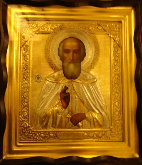 Храмовая икона преподобного Сергия Радонежского с частицей его мощей