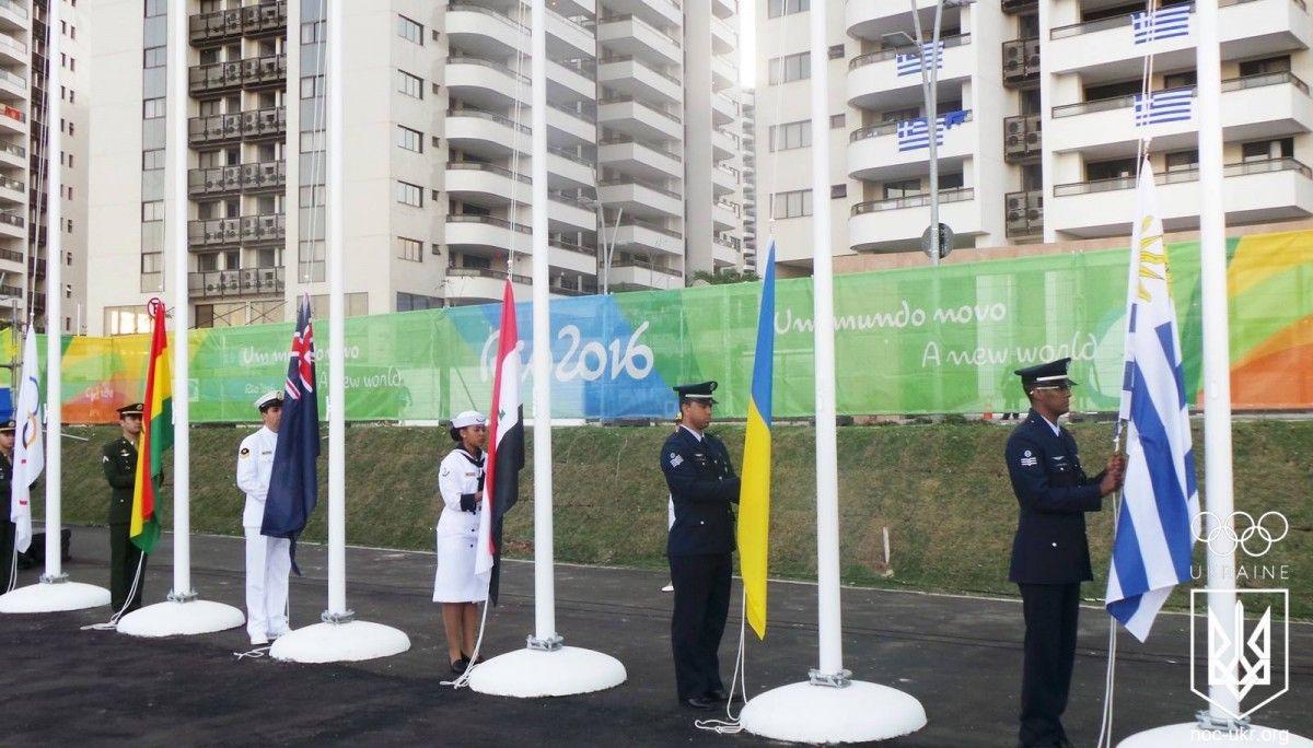 Церемония поднятия флага Украины в олимпийском городке в Рио / facebook.com/olympicua