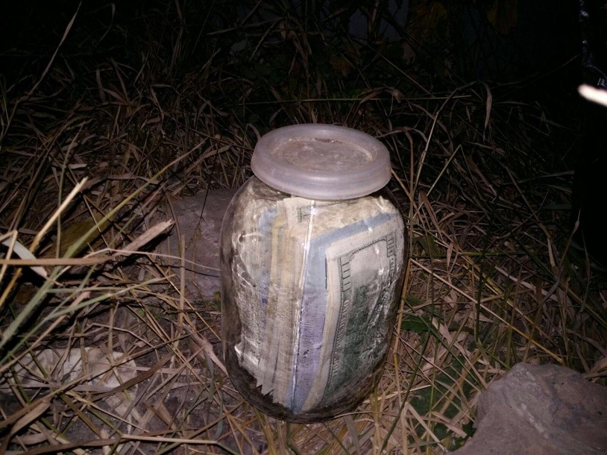 Cash discovered in a jar buried in judge Chaus's backyard / Facebook Nazar Kholodnitsky