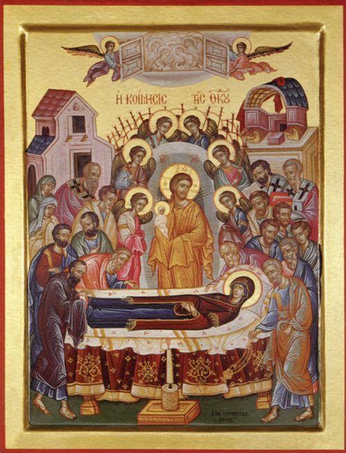Современная греческая икона Успения Пресвятой Богородицы