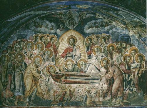 Фреска Успения Пресвятой Богородицы келии св. Стефана на горе Афон, конец XVII века