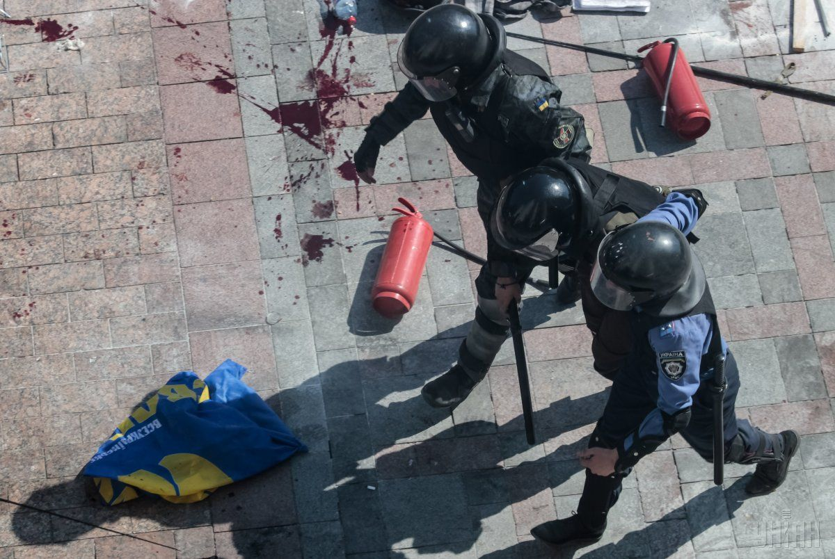 31 серпня біля ВР загинули четверо бійців Нацгвардії ще близько 150 людей постраждали / фото УНІАН