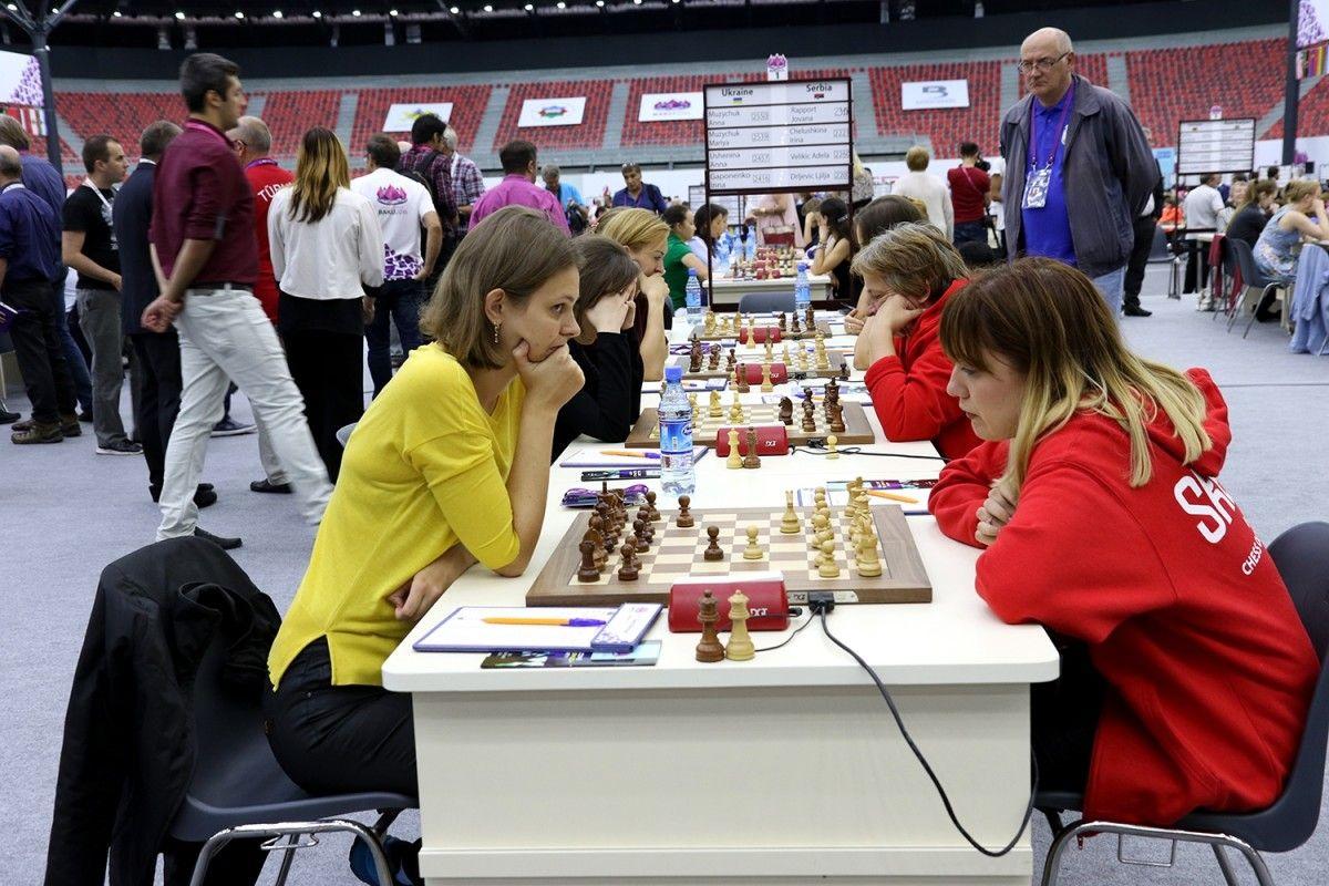 Украинки сегодня обыграли команду Сербии благодаря двум победам сестер Музычук / bakuchessolympiad.com