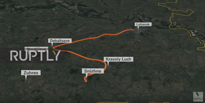 Buk on route from Snizhne / screenshot from the broadcast
