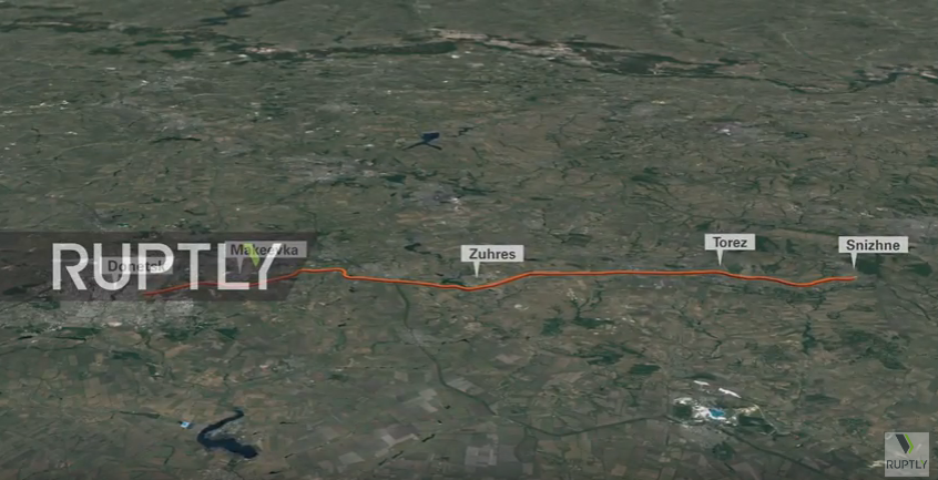 Route of trailer with Buk to Snizhne / screenshot from the broadcast