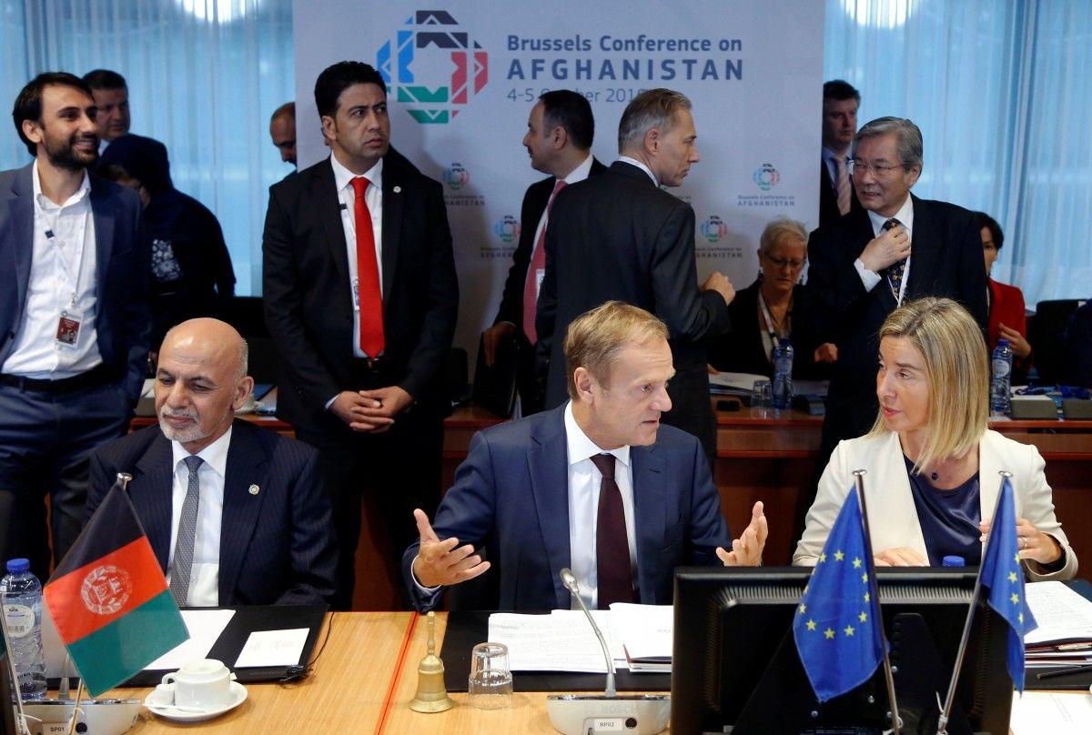 Дональд Туск, Федерика Могерини и президент Афганистана Ашраф Гани / REUTERS
