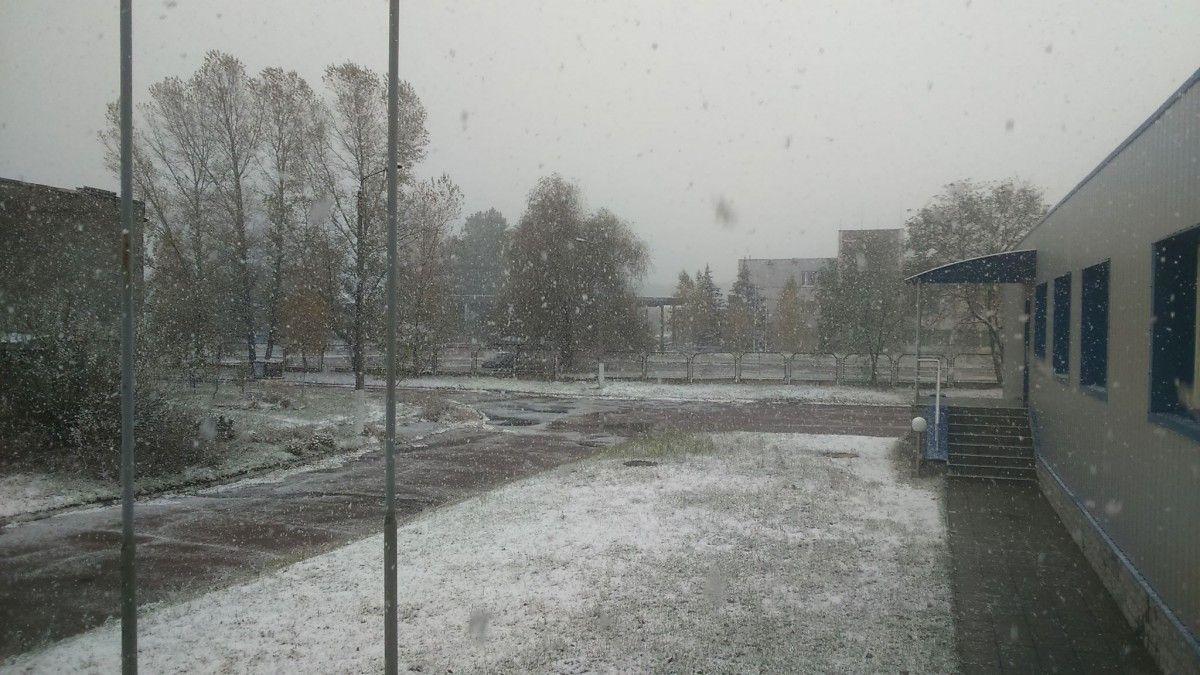 В Славутиче выпал первый снег / Facebook, Aleksandr Moksunov