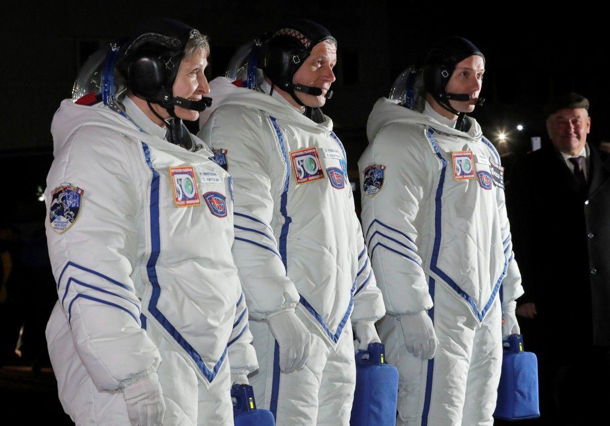 Космонавты перед отправкой на МКС / REUTERS
