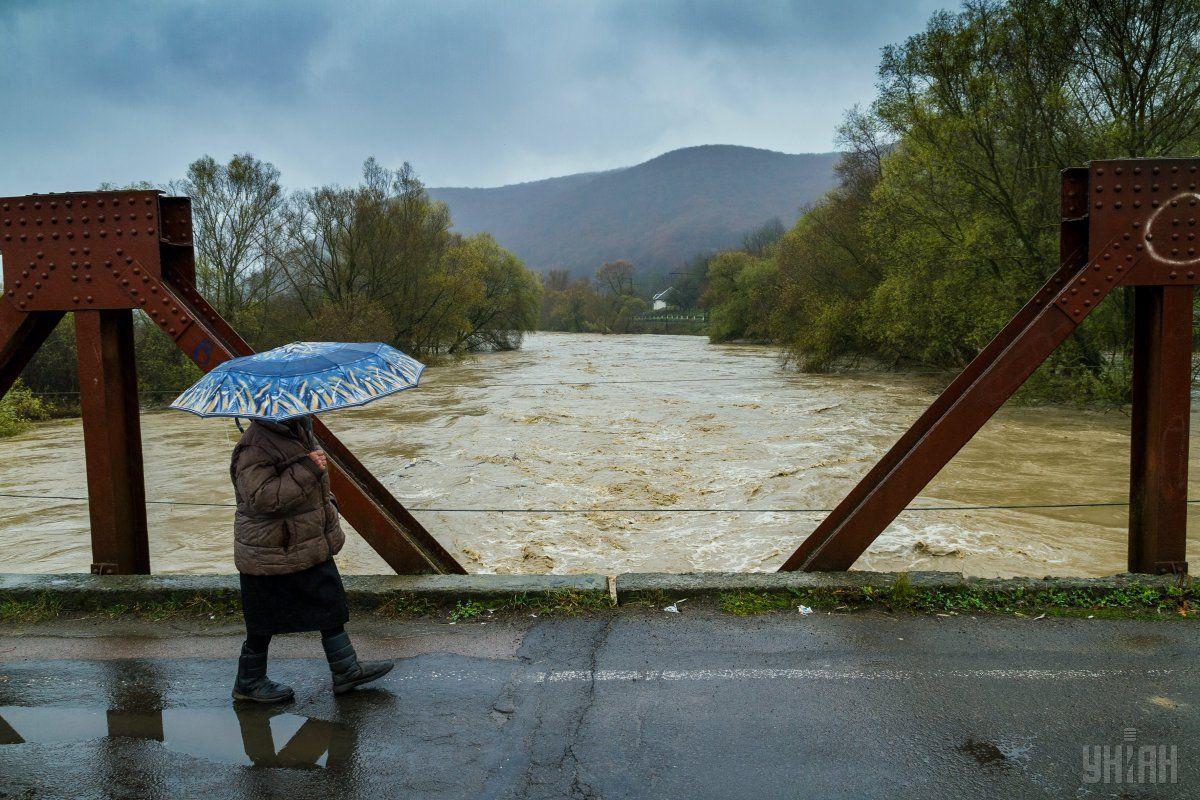 В Виннице из-за дождя уровень воды в Южном Буге поднялся до максимальной отметки / УНИАН