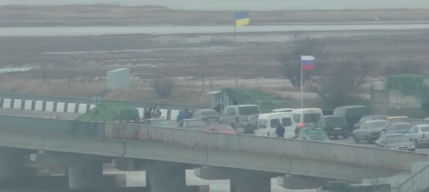 Скріншот відео затримання дезертирів на кордоні з Кримом окупованим