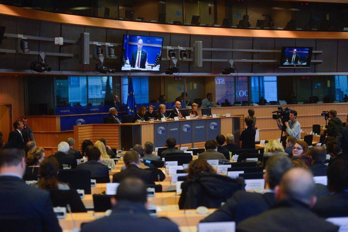 Yatsenyuk during his speech in Brussels