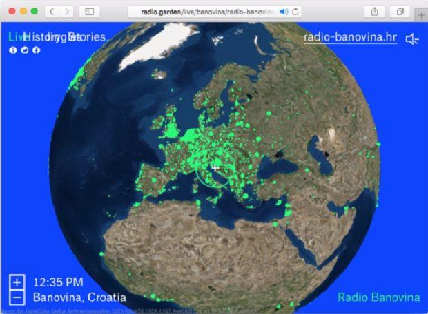 Карта дает возможность слушать радиостанции разных стран / скриншот
