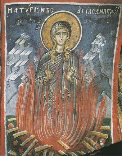 Икона: мученичество св. вмц Анастасии Узорешительницы XVI в. Греция. Афон, монастырь Дионисиат