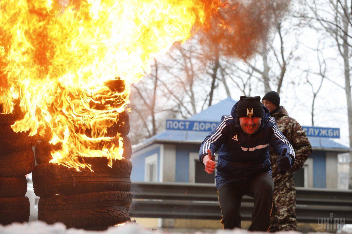 Протестующие блокировали въезд в Киев / Фото УНИАН