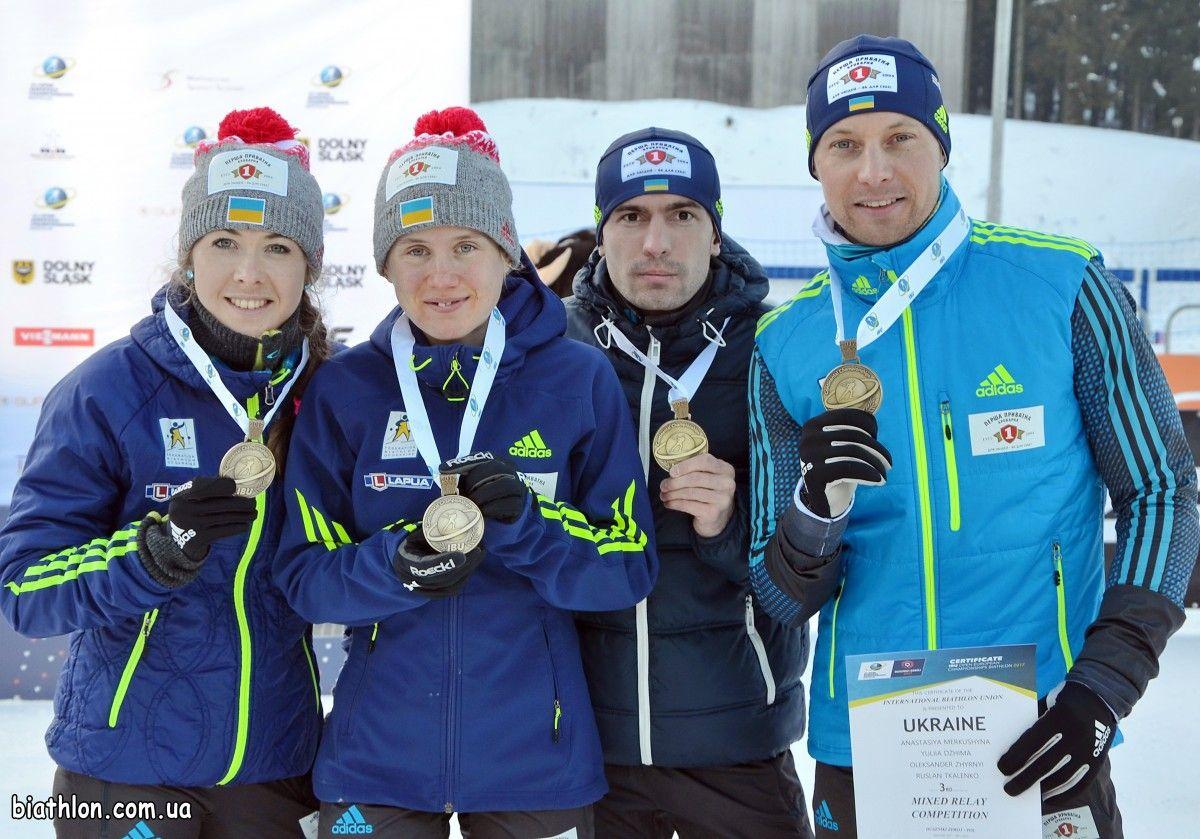 Українські біатлоністи виграли бронзу в змішаній естафеті / biathlon.com.ua