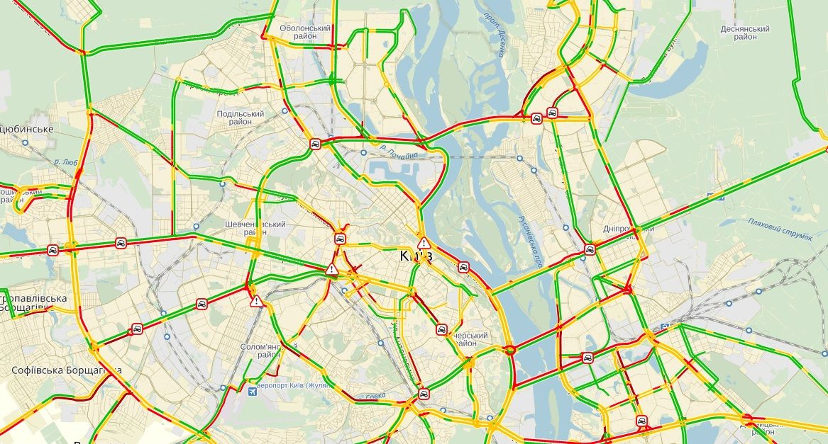 Київ та передмістя столиці зупинилися у заторах / Скріншот