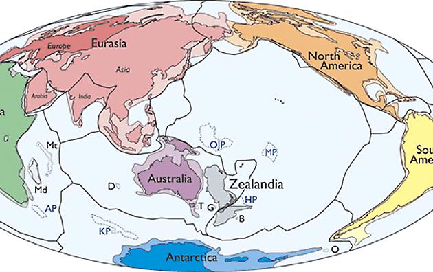 Зеаландію назвали сьомим континентом / geosociety.org/