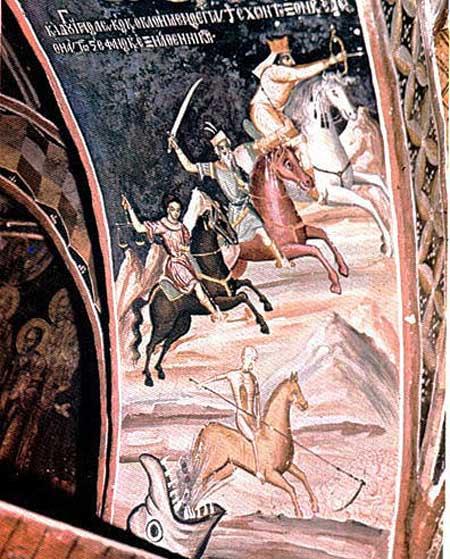 Страшный суд. Фреска. Монастырь Каракал на Афоне.