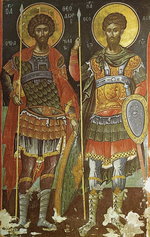 Великомученики Феодор Тирон (справа) и Феодор Стратилат (слева). Феофан Критский и Симеон. Фреска церкви святого Николая. Монастырь Ставроникита. Афон. 1546 год.
