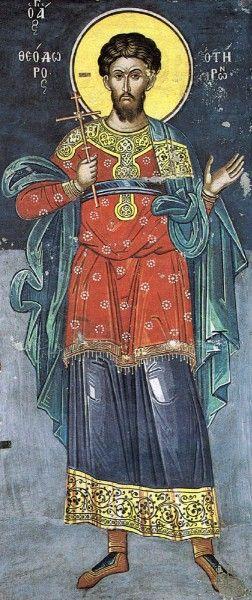 Великомученик Феодор Тирон. Тзортзи (Зорзис) Фука. Фреска. Монастырь Дионисиат. Афон. 1547 год.