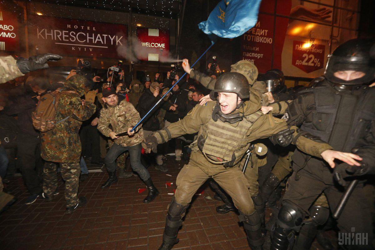 Віче на Майдані завершилося конфліктом з правоохоронцями / УНІАН