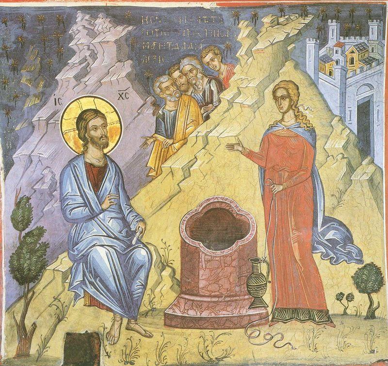Беседа Христа с самарянкой. Фреска XVI века в монастыре Дионисиат. Афон.