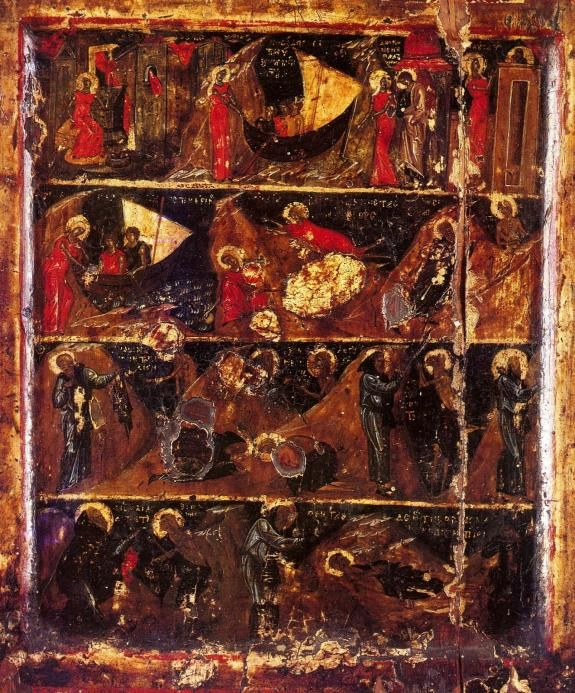 Житие преподобной Марии Египетской. Икона. XIV век. Хиландар. Афон.