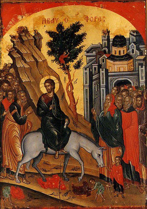 Фото: Вход Господень в Иерусалим. Монастырь Ставроникита, Афон, XVI в. Мастер Феофан Критский / athos-ukraine.com