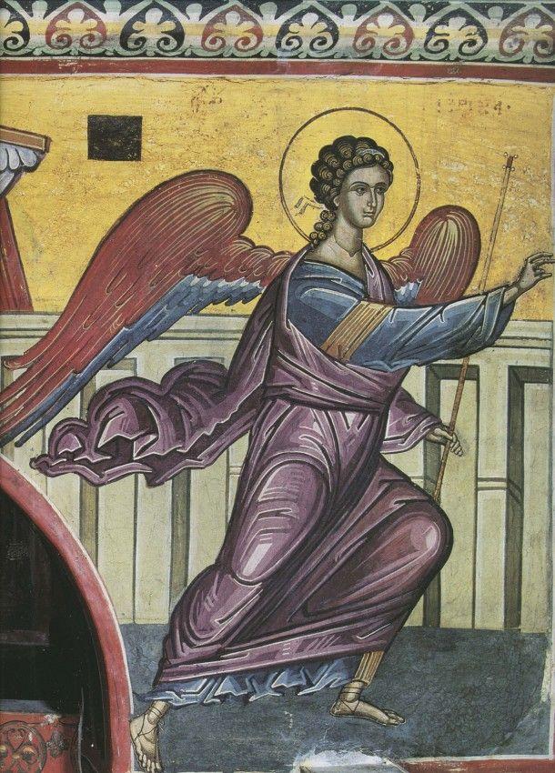 Архангел Гавриил. Благовещение. XVI век. Дионисиат. Афон.