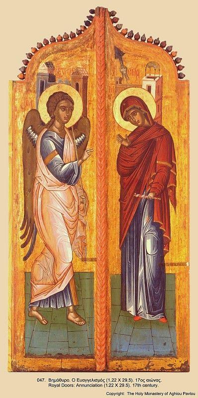 Благовещение Пресвятой Богородицы. XVII век. Монастырь святого Павла. Афон.